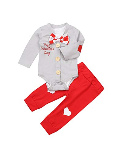 Newborn Baby Boy Girl Clothes My First Valentine's Day Rompers Bodysuit+Cute Pant 3PCS Gentleman Outfit Set Grey