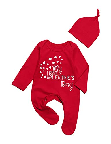 Oklady Valentine's Day Newborn Baby Boys Girls Jumpsuit My First Valentine's Day Romper with Hat Outfits 9-12 Months