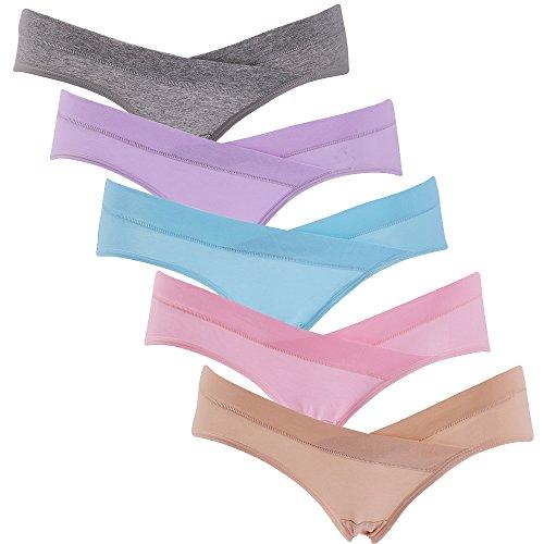 SUNNYBUY Support Maternity Panties Cotton Underwear Women Pregnancy Seamless Under Bump Underwear(5,L)