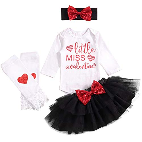 Baby Girl My First Valentines Day Outfit Little Miss Romper Tutu Skirt Leg Warmers Bow with Headband 4PCs Dress Set(9-12M/Size100) White