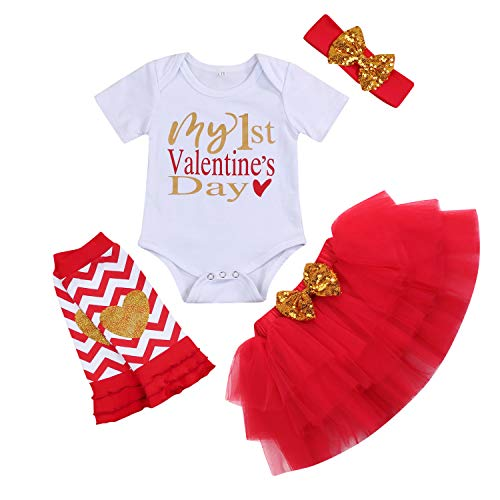 Baby Girl My First Valentine's Day Outfit Short Sleeve Romper+Tutu Skirt+Leg Warmers Headband Clothes Set (Short Sleeve, 0-3 Months)