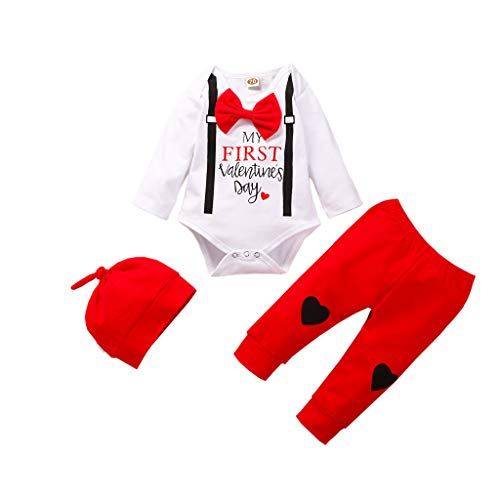 My First Valentine's Day Funiup 3Pcs Infant Baby Boys Girls Valentin's Day Heart Print Romper + Plaid Pants Outfits