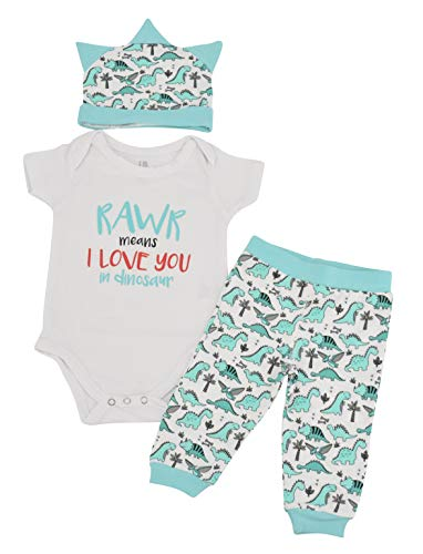 Unique Baby Boys Dinosaur Love Valentine's Day Layette Cap (6 Months) Aqua