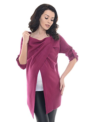 Purpless Maternity 2in1 Pregnancy and Nursing Cardigan Knitted Jumper for Pregnant Breastfeeding Woman Top Jacket 9001/5 (8/10, Dark Pink)