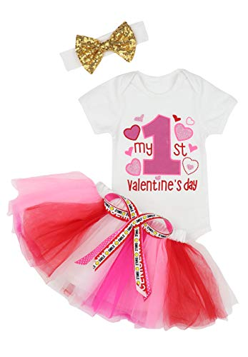 Baby Girls My First Valentine's Day Outfit Dress Romper + Tutu Skirt + Headband 3PCS Skirt Set 6-9 Months Pink