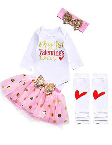 Newborn Infant Baby Girl My First Valentine's Day Romper Tutu Skirt Headband Leg Warmers 5Pcs Outfits Set 3-6 Months Pink