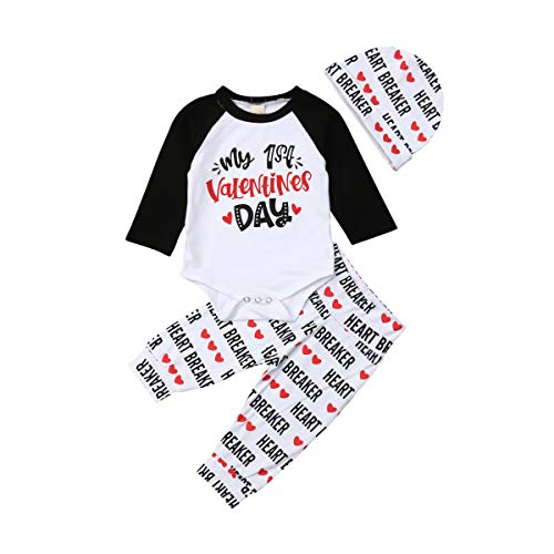 Baby Boy Girl My First Valentine's Day Outfits Long Sleeve Romper Letter Print Long Pants Hat 3PCS Clothes Sets (White Valentine's Day Outfits, 0-3 Months)