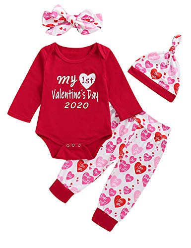 Shalofer Baby Girl Boy My First Valentine's Day Toddler Lovely Long Sleeve Pant Set (Red2020,12-18 Months)