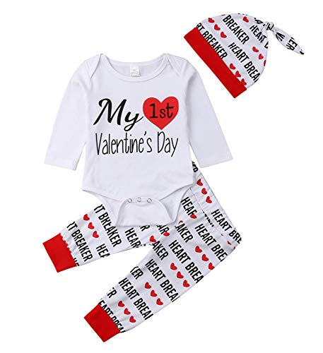 Bowanadacles Newborn Infant Baby Boys Girls My First Valentine's Day Outfit Long Sleeve Romper Heart Breaker Pants with hat (White, 70(0-6M))