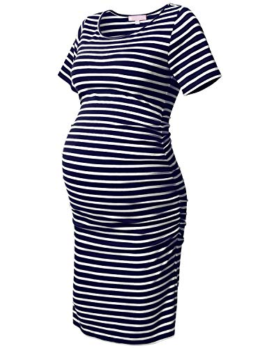 Striped Maternity Bodycon Dress Short Sleeve Ruched Sides Knee Length Dress Navy and White Striped L