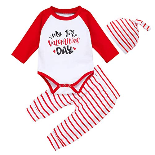 My First Valentine's Day Baby Girls Boys Clothes Cute Romper Top + Long Pants + Hat 3Pcs Outfits Set(12-18M) White