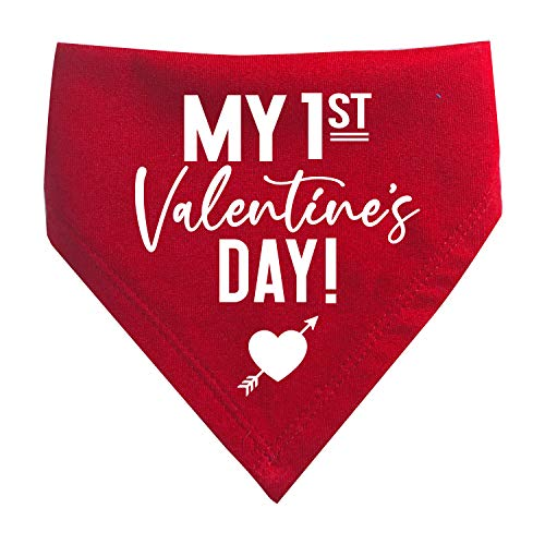 My First Valentine's Day Printed Baby Bib Triangle Bandana (Red)